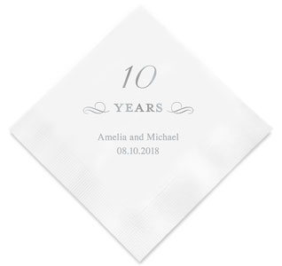 10th anniversary personalized napkins
