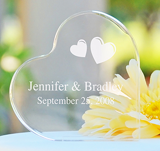 Personalized Acrylic Heart Cake Topper
