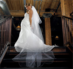 2-Tier White Standard Tulle Wedding Bridal Veil - Floor Length