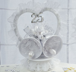 White and Silver 25th Wedding Anniversary Cake Topper w/ Bells
