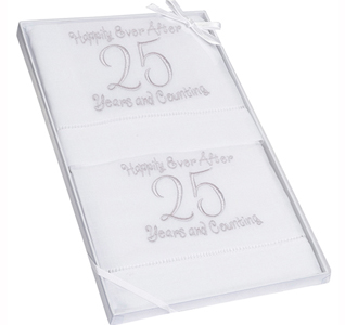 25th Wedding Anniversary Linen Towels