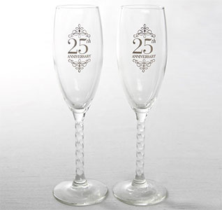 25th Wedding Anniversary Silver Toasting Glasses