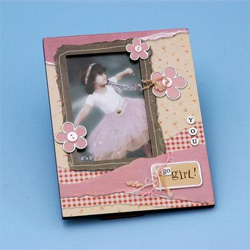 3-D Flower Girl Pink Wedding Gift Photo/ Picture Frame