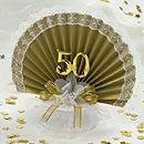 White and Gold 50th Wedding Anniversary Cake Topper w/ Bells