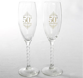 50th Wedding Anniversary Gold Toasting Glasses