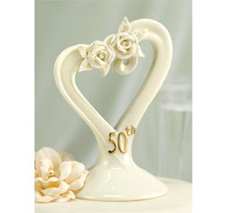 50th Pearl Rose Cake Top