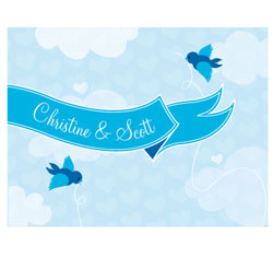 A Little Bird Told Me Personalized Wedding Note Cards in Blue