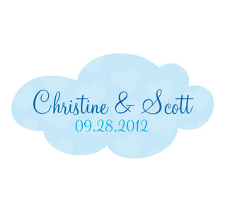 A Little Bird Told Me Blue Personalized Wedding Die Cut Sticker