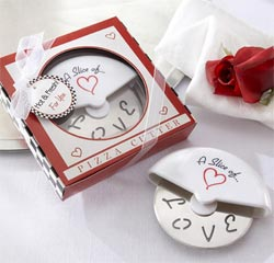 A Slice of Love Stainless-Steel Pizza Cutter Red and White Kitchen Utensil Wedding Gifts or Favors