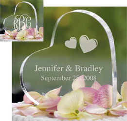 Personalized Acrylic Heart Wedding Cake Topper