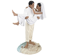 Just Married Beach Couple African American Wedding Cake Top Figurine