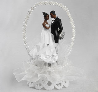 African-American Wedding Arch Cake Bride and Groom Caketop Figurine