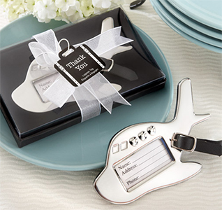 Airplane Luggage Tag Destination Resort Honeymoon Luggage Tag Silver Wedding Favors