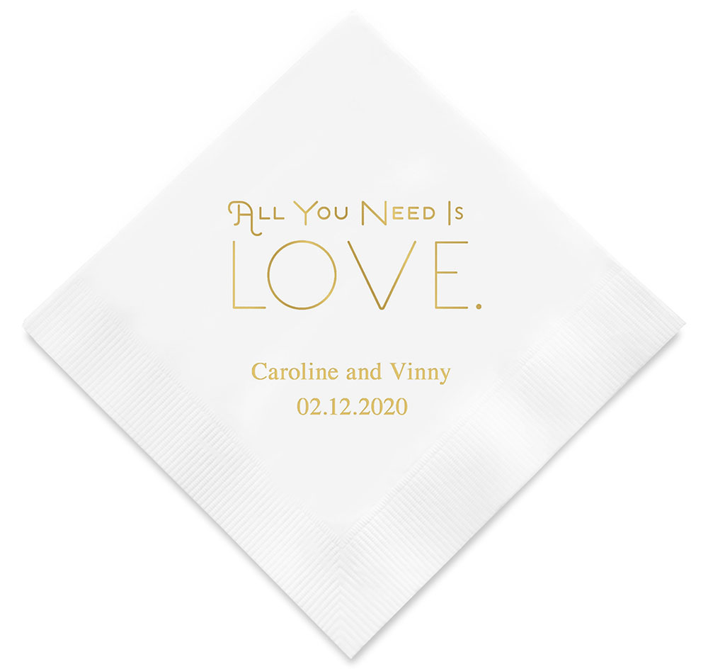 All You Need Is Love Wedding Napkins | Personalized Napkins