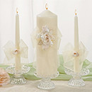 White or Ivory Amour Wedding Pillar Unity Candle and Tapers Set