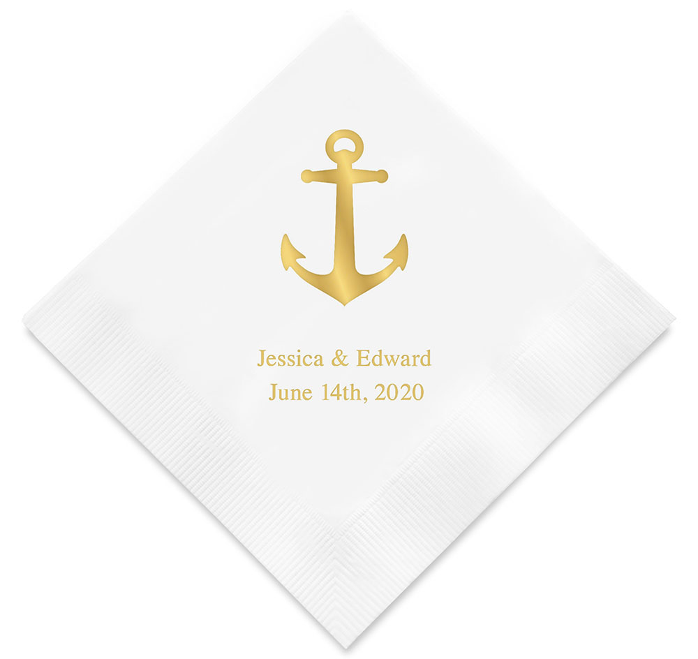 Wedding Personalized Napkins personalized wedding napkins printed anchor napkins