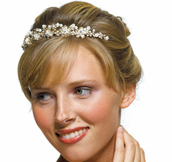Ivory Pearls in Antique Gold Garden Tiara for Wedding or Prom Updo