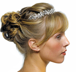 White Pearls in Antique Silver Garden Tiara for Wedding or Prom Updo