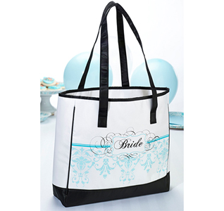 Aqua Blue Bride Tote Bag