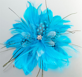 Aqua Feather Hair Clip