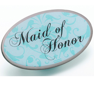 Aqua Blue Maid of Honor Pin
