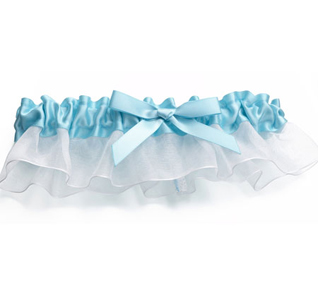 Aqua Blue Satin Wedding Garter