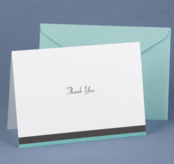Aqua Trimmed Thank You Cards