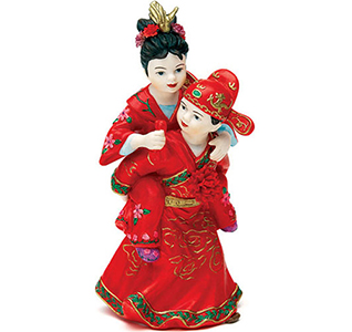 Cute Asian Couple in Traditional Red Asian Attire Wedding Cake Top Figurines