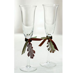 Maroon and Green Autumn Leaf Splendor Wedding Toasting Flute Set for Bride and Groom
