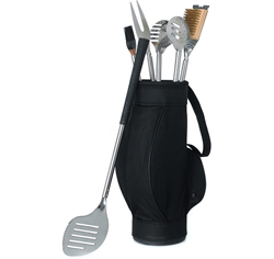 Novelty 5 Piece BBQ Grill Cooking Tools in Black Golf Bag and Golf Grips Wedding Gift for Groom