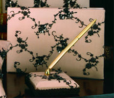 Camelot Wedding Guest Book and Pen Holder Set Pink and Black
