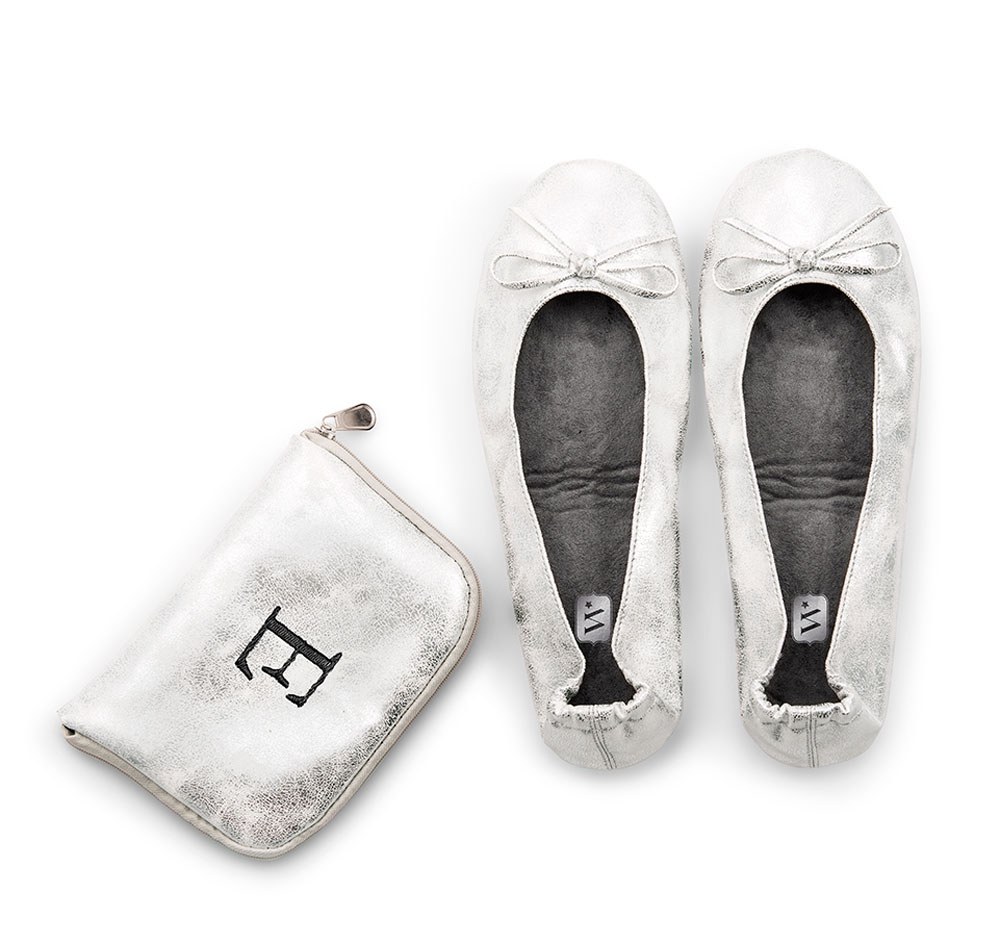 Wedding Ballet Flats Custom Carrying Case Silver