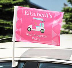 Personalized Bar Golf Bachelorette Wedding Party Car Window Flag