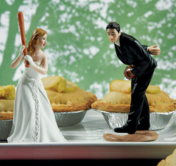 Baseball Couple Wedding Cake Topper Figurines