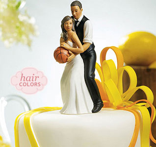 Dream Team Basketball Playing Bride and Groom Wedding Cake Top