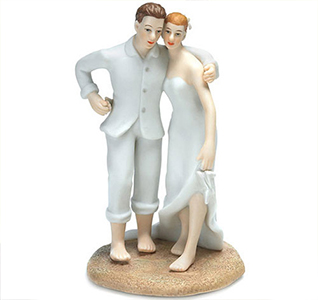 Beach Bride and Groom Wedding Cake Topper Figurines