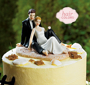 Beach Lounging Bride Groom Cake Topper