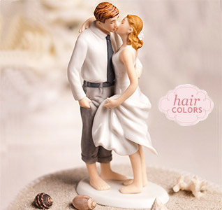 Beach Getaway Bride Groom Cake Topper