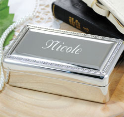 Beaded Silver Personalized Jewelry Box