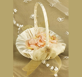 Beaded Organza Ivory Wedding Flower Girl Basket