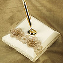 Beaded Organza Ivory and Gold Wedding Pen Holder