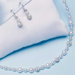Beaded Trio Wedding Jewelry Set Necklace and Earrings Pearls