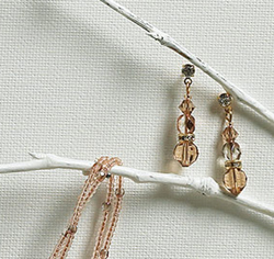 Multi Beads in Champagne & Gold Drop Earrings