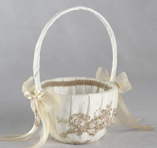 Bella Donna Ivory and Champagne Flower Girl Basket