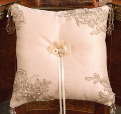 Bella Donna White and Ivory Wedding Ring Bearer Pillow