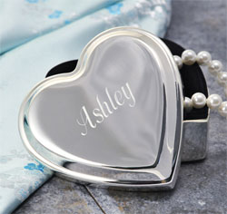 Engraved Silver Heart Keepsake Jewelry Box