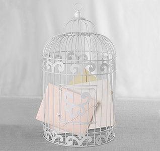 birdcage wedding card holder white