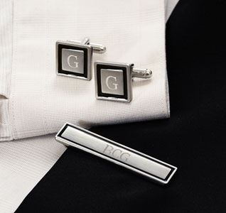 Black Border Designer Personalized Initial Wedding Groom Cuff Links & Tie Clip