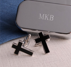 Black Cross Cufflinks Case