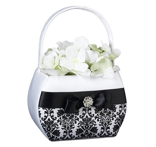 Black Damask Flowerbasket